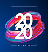 Happy New Year 2020. Greeting poster with colorful abstract twisted paint shape. Trendy design