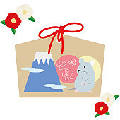 New Year card illustration set of Mouse Ema and camellia flowers.