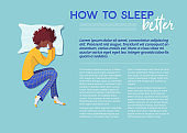 How to sleep better banner vector template