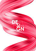 Vector illustration: Modern red flow poster background. Abstract wave twisted liquid shape. Art design