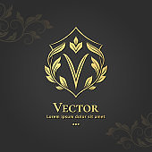 Shield emblem. V letter. Elegant elements. Can be used for jewelry, beauty and fashion industry. Great for logo, monogram, invitation, flyer, menu, brochure, background, or any desired idea.
