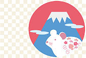 New Year card illustration of Mount Fuji and white mouse(Checkered background)
