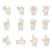 Illustration of various hand pose icon set.