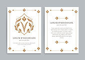 White and gold vintage greeting card. Letter V. Luxury vector shield ornament template. Monogram. Great for invitation, flyer, menu, brochure, wallpaper, background, decoration, or any desired idea.