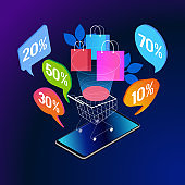 Online shopping isometric concept banner