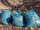 illegal garbage bags in nature