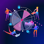 Analyzing statistics isometric concept banner