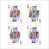 Set of king playing card with different suits like diamonds, clubs, hearts and spades isolated on white
