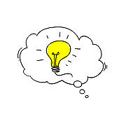 Speech bubble light lamps Idea Creative idea Concept of idea and innovation with light bulb illustration doodle cartoon style