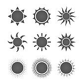 Set of nine different gray sun icons on white