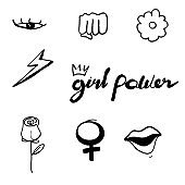 Set of feminism elements and text Female hand drawn brush graphic Girl power concept with doodle hand drawn style vector