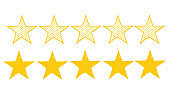 doodle Stars rating icon set. Gold star icon set isolated on a white background with hand drawn style