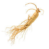 Ginseng separated into a white background