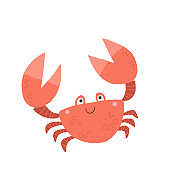 Funny cute crab smiling. Cartoon vector hand drawn eps 10 childrens book illustration isolated on white background in a flat style.