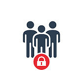 Group icon with padlock sign. Group icon and security, protection, privacy symbol