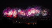 On October 1, 2019, China National Day Fireworks Display, Tiananmen Square, Beijing, China, celebrates the 70th anniversary of the founding of China, the night sky fireworks show.