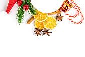 Xmas Background. Christmas decoration isolated on white. Gold Ne