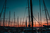 View of masts and yachts in marina,Croatia