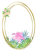 Golden round frame with tropical flowers and leaves. Watercolor illustration for invitations, holiday cards, design.