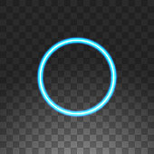 Abstract circle blue neon frame, vector illustration, isolated on transparent background