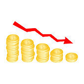 Drop in revenue. Chart with gold coins. Worsening welfare. Bankruptcy. Business failure concept with golden coins, template for design, vector illustration