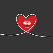 Black Friday Sale with glitch Heart in continuous drawing lines in a flat style in continuous drawing lines. The work of flat design. Symbol of love and tenderness