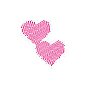 Hand painted two red hearts on white background, one line. Hand drawing of heart doodle by crayon . Use for background
