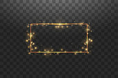 Golden frame with lights effects,Shining luxury banner vector illustration. Glow line golden frame with sparks and spotlight light effects. Shining rectangle banner isolated on black transparent background