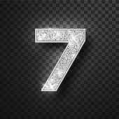 Silver glitter alphabet numbers 7 with shadow. Vector realistick shining silver font number sewen of sparkles on black background. For decoration of cute wedding, anniversary, party, label, headline, poster, sticker