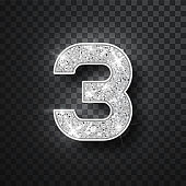Silver glitter alphabet numbers 3 with shadow. Vector realistick shining silver font number three of sparkles on black background. For decoration of cute wedding, anniversary, party, label, headline, poster, sticker.