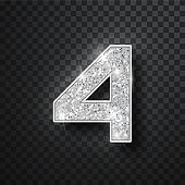 Silver glitter alphabet numbers 4 with shadow. Vector realistick shining silver font number four of sparkles on black background. For decoration of cute wedding, anniversary, party, label, headline, poster, sticker