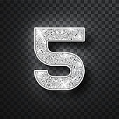 Silver glitter alphabet numbers 5 with shadow. Vector realistick shining silver font number five of sparkles on black background. For decoration of cute wedding, anniversary, party, label, headline, poster, sticker.