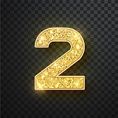 Gold glitter numbers two with shadow. Vector realistick shining golden font figure 2 lettering of sparkles on black background. For decoration of cute wedding, anniversary, party, label, headline, poster, sticker