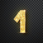 Gold glitter numbers one with shadow. Vector realistick shining golden font figure 1 lettering of sparkles on black background. For decoration of cute wedding, anniversary, party, label, headline, poster, sticker