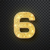 Gold glitter numbers six with shadow. Vector realistick shining golden font figure 6 lettering of sparkles on black background. For decoration of cute wedding, anniversary, party, label, headline, poster, sticker
