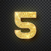 Gold glitter numbers five with shadow. Vector realistick shining golden font figure 5 lettering of sparkles on black background. For decoration of cute wedding, anniversary, party, label, headline, poster, sticker
