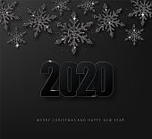 2020 Happy New Year luxury dark Background wich Black glitter snowflakes.