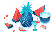 Fruits isometric set with watermelon, pineapple, coconut, cherry, red, citrus slice, summer background elements, tropical food and drink concept, vector 3d illustration