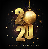 Happy New 2020 Year. Holiday vector illustration of golden metallic numbers 2020. Gold Numbers Design of greeting card of Falling Shiny Confetti. New Year and Christmas posters.