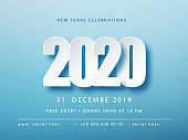 2020 Blue Christmas typography design. Winter season background with falling snow. Christmas and New Year poster template.Holiday greetings. Vector illustration EPS10.