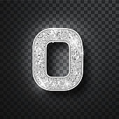 Silver glitter alphabet numbers 0 with shadow. Vector realistick shining silver font number zero of sparkles on black background. For decoration of cute wedding, anniversary, party, label, headline, poster, sticker.