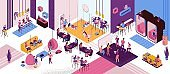 Coworking space interior, creative and office people work in open workspace, freelancer with laptop, modern environment, loft style place, painting workshop, musicians, horizontal vector illustration