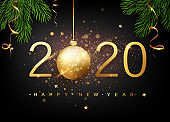 2020 Happy new year. Gold Numbers Design of greeting card of Falling Shiny Confetti. Gold Shining Pattern. Happy New Year Banner with 2020 Numbers on Bright Background. Vector illustration.