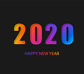 2020 Happy New Year Dark Background with colorful gradient composition. Creative trendy holiday illustration. 2020 Modern Design.