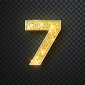 Gold glitter numbers seven with shadow. Vector realistick shining golden font figure 7 lettering of sparkles on black background. For decoration of cute wedding, anniversary, party, label, headline, poster, sticker