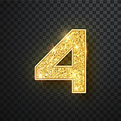 Gold glitter numbers four with shadow. Vector realistick shining golden font figure 4 lettering of sparkles on black background. For decoration of cute wedding, anniversary, party, label, headline, poster, sticker