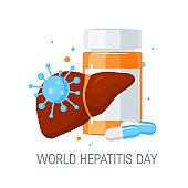 World hepatitis day concept in flat style