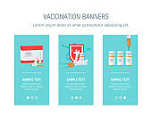 Medicine template for web banners in flat style