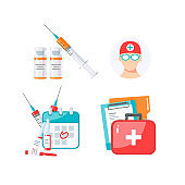 Medicine items vector concept in flat style