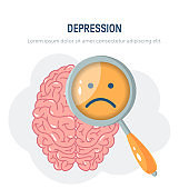 Depression vector concept in simple flat style
